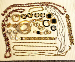 Collection of Mostly Gold Tone Fashion Sets, Necklaces, Bracelets, Pins Jewelry