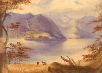 Late 19th Century Watercolour - Cloudy Skies Over the Loch