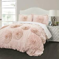 NEW Lush Decor Serena Comforter & 2 Shams Blush Ruched Flowers 3 Piece Set, King