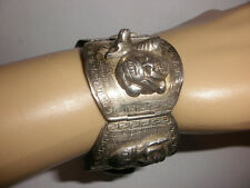 silver Storyteller mayan aztec bracelet Vintage Peruvian faces panel sterling
