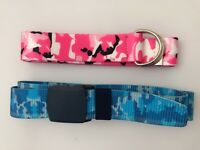 Women Boy Girl Camo Army Military Blue Pink camouflage Sports Casual Pants Belt