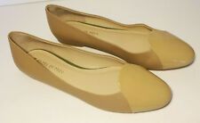 NEW SHOES OF PREY SZ 11.5 BEIGE LEATHER PATENT BALLETS FLATS