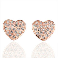 New 18K Rose GOLD Plated Crystal 15mm Love Heart Wedding Stud Earrings Stunning