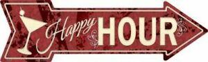 "Happy Hour Directional Metal Arrow Sign 17"" x 5"" ↔ Beach Pool Pub Bar Fun Decor"