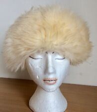 1970s Cream Fake Fur Hat With Suedette Crown And Fake Fur Lining S-M