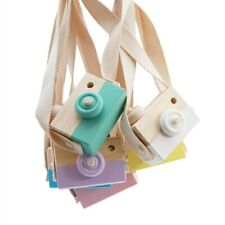 Kids Wooden Handmade Camera Toys Baby Children Cute Mini Gift Neck Hanging Jouet