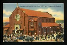 New Jersey NJ Shore linen postcard St. Augustines Catholic Church, Ocean City