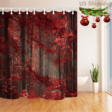 Mystic Autumn Forest Red Leaves Bathroom Waterproof Fabric Shower Curtain &Hooks