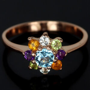 REAL AAA TOPAZ CITRINE AMETHYST PERIDOT STERLING 925 SILVER FLOWER RING SIZE 7