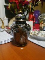 Vintage Asian Black Ginger Jar Urn Vase With Lid Porcelain Stunning Pottery