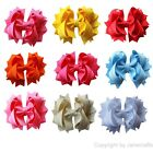 "9x 4.5"" Solid Stacked Girl Baby Spike Ribbon Hair Bow Alligator Clip Mix 9 color"