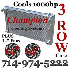 3 Row Champion Cooling Radiator with 14 inch Fans for 1966-1980 Chevy GM Cars