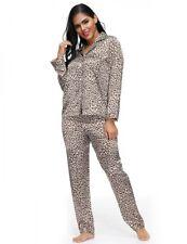Lau-Fashion Schlafanzug Satin Pyjama Leo Langarm Glanz Leopard Nachtwäsche S/M