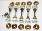 5 Sets of Vintage 12 Pt  Glass Door Knobs w Spindles  Brass Backplates  Screws