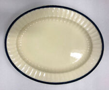 More details for crown ducal england very large oval plate, 37cmx 29cm, white and navy, free p&p