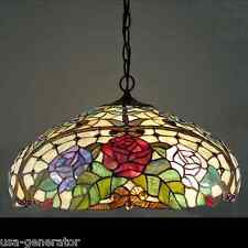 "Hanging Ceiling Fixture 2 Light Rose Floral Tiffany Style Pendant Lighting 18"" D"