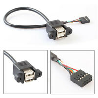 Dual USB 2.0 A Female to Motherboard 9 Pin Header Cable and Screw Panel Hole