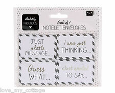 Pack 4 Notelet Envelopes Florist Message Cards Thank you white silver Gift Tags