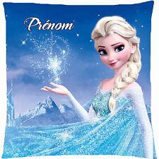 coussin satin reine des neiges personnalisé prénom - texte au choix réf 152