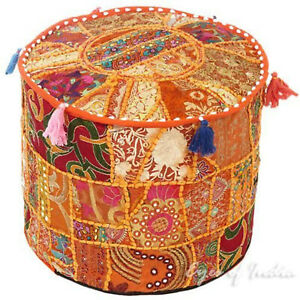 Patchwork Embroidered Pouffe Footstool Ottoman Cover Stool Pouffe Cover Cotton
