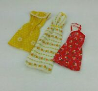Set Of Three Vintage 70's Mattel Barbie Best Buy Fashions Yellow Red Floral!