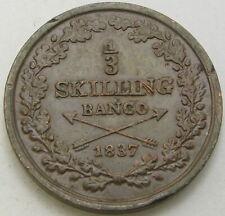 SWEDEN 1/3 Skilling 1837 - Copper - VF/XF - 3521 ¤