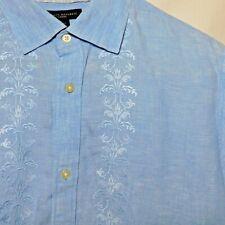 Banana Republic Blue Linen Embroidered Button Down Short Sleeve Shirt Mens Sz L