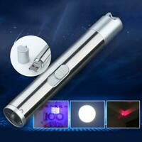 3 in1 Mini Multifunction USB Rechargeable LED  UV Torch Pen Flashlight Lamps