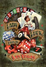 Lady Luck Lives in Las Vegas Nevada, Playing Cards, Poker Chips, Dice - Postcard