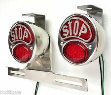 LED STOP Stainless Taillights w/ Plate Light & Brackets Flat Bed Dump F1
