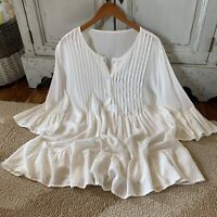 Womens Boho Cotton White Pleated Ruffle Hem Tunic Top Festival Vtg Insp M L XL