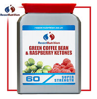 REACT NUTRITION GREEN COFFEE BEAN & RASPBERRY KETONES. SAME CAPSULE WEIGHT LOSS