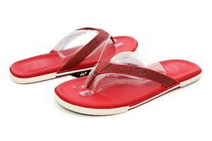 UGG Bennison II Leather  Men's Flip Flops Thongs Harissa Red Size 11 US