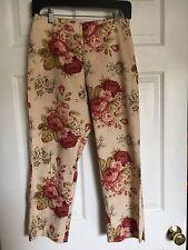 MARISA CHRISTINA Beige Floral Capri Cropped Stretch Pants - Size 4   EUC