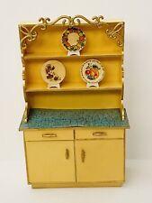 Ideal Petite Princess Fantasy Furniture Dollhouse Kitchen Hutch MCM Yellow 1:12