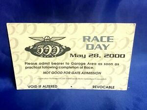 Indianapolis Indy 500 2000 Logo RACE DAY GARAGE PASS Juan Pablo Montoya Wins