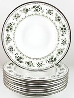 SET(S) 6 RIMMED SOUP BOWLS ROYAL DOULTON CHINA VALLEY GREEN H5015 FLOWERS SILVER