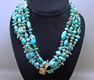 Paige Wallace 925 Silver 4 Strand Turquoise Beads Southwestern Necklace