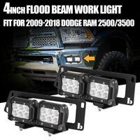 For 09-18 Dodge Ram 1500/2500/3500+4X 18W LED Fog Light Pod+Bumper Mount Bracket