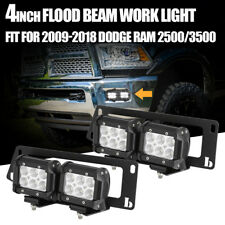For 09-18 Dodge Ram 1500/2500/3500+4X 18W LED Fog Light Pod+Bumper Mount Bracket