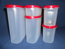 Tupperware set of 5 oval Modular mates red storage container organize kitchen