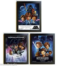 3 FRAMED STAR WARS MOVIE POSTER EMPIRE STRIKES BACK RETURN OF THE JEDI BABY ROOM