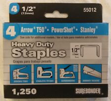 Surebonder 55012 Heavy Duty 1/2-Inch Length Staples, Arrow T50 Type, 1250 Count
