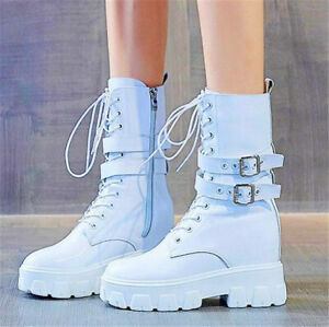 Military Women Cow Leather Round Toe Platform Wedge Ankle Boots Lace Up Buckle