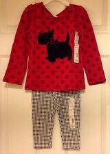 NEW Girls Toughskins Red Polka Dot Scottie Dog Shirt Black and White Leggings 4