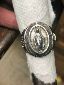 Blessed Virgin Mary Miraculous Massive Ring Solid Sterling Silver 925 Sizes 6-14