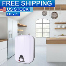 110V 8L Electric Tankless Hot Water Heater Kitchen Bathroom Home 55℃-75℃【USA】