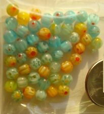 50 Millefiori glass lamp work beads 4mm art glass rounds assorted colors GBS087