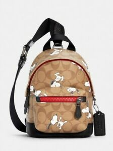 Coach X Peanuts Small West Backpack Crossbody In Signature Canvas W Snoopy Print