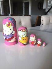 5-Pce Wooden Russian Matryoshka Hello Kitty Nesting Stacking Dolls artist signed